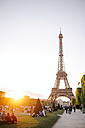 France, Paris, Champ de Mars, view to Eiffel Tower at sunset - GEM01269