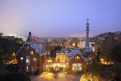 Spain, Barcelona, Park Guell at twilight - ABO00125