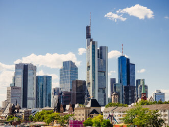 Germany, Frankfurt, view to skyline of skyscrapers with old town in the foreground - KRPF02027