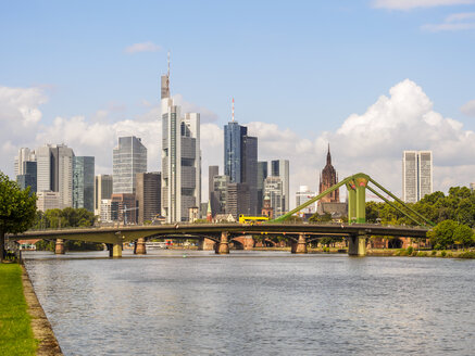 Germany, Frankfurt, view to skyline with Floesserbruecke and Main River in the foreground - KRPF02042