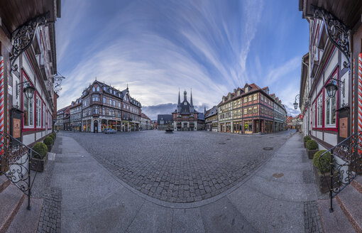 Germany, Wernigerode, panorama of market square with town hall - PVC00951