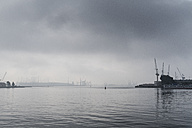 Germany, Rostock, fog over Rostock Port - MELF00168