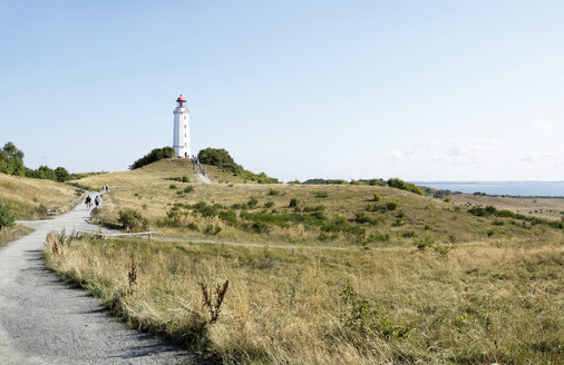 Germany, Hiddensee, Dornbusch, view to landscape and lighthouse - LHF00510