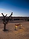 Oman, Al Raka, resort in Rimal Al Wahiba desert at twilight - AM05107