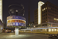 Germany, Berlin, world clock at Alexanderplatz by night - GF00879