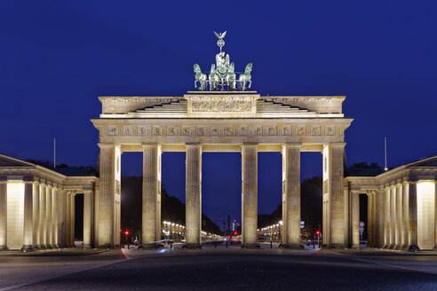 Germany, Berlin, view to lighted Brandenburg Gate by night - GFF00891