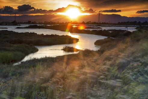 Spain, Tarragona, Ebro Delta, Tancada lagoon at sunset - DSGF01169
