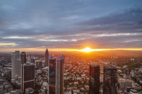 Germany, Frankfurt, city view at sunset seen from above - KRPF02048