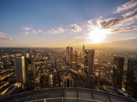 Germany, Frankfurt, city view at sunset seen from above - KRPF02051