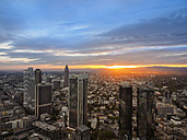 Germany, Frankfurt, city view at sunset seen from above - KRPF02057
