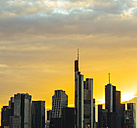 Germany, Frankfurt, view to skyscarpers at financial district by sunset - KRPF02063