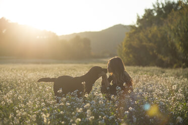 Young woman and her dog in field of flowers at twilight - SKCF00226
