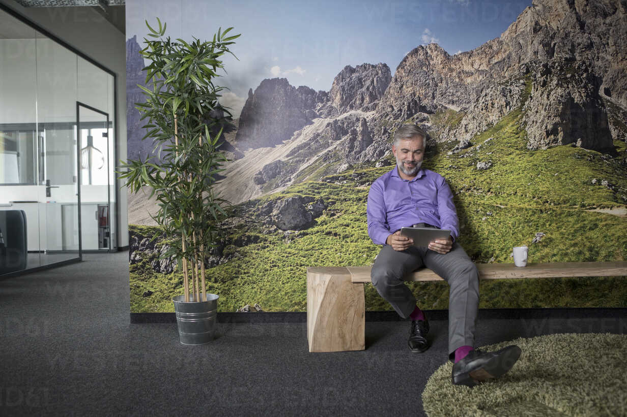 Businessman in office using tablet sitting at photographic wallpaper - RB05329 - Rainer Berg/Westend61
