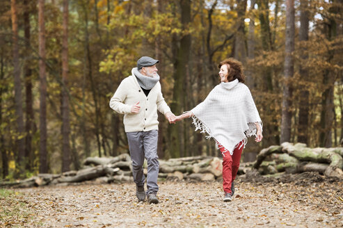 Senior couple walking hand in hand in the woods - HAPF01163