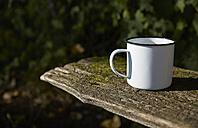 Enamel mug on wooden bench - FMKF03275