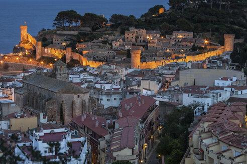 Spain, Costa Brava, Tossa de Mar, townscape  with Vila Vella at night - ABOF00132