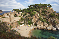Spain, Costa Brava, Tossa de Mar, El Codolar Beach below the Old Town - ABOF00135