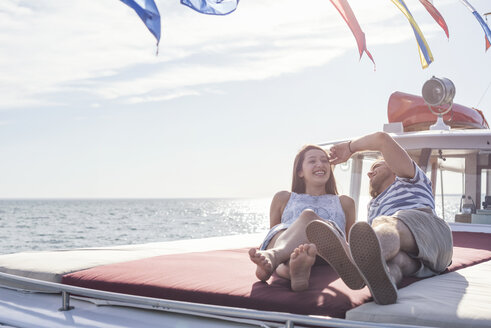 Young couple on a boat trip - WESTF22230