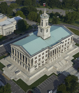 USA, Nashville, Tennessee State Capitol, aerial view - BCDF00250