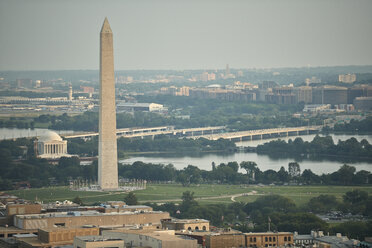 USA, Washington, D.C., Aerial photograph of the Jefferson Memorial and Washington Monument - BCDF00262