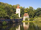 Germany, Bavaria, Franconia, Dinkelsbuehl, Rothenburg pond and digester - SIEF07189