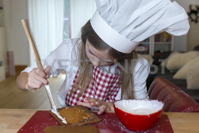 Girl preparing gingerbread house - SARF03088