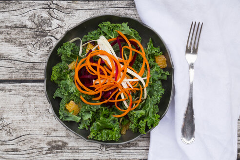 Salad with kale, beetroot, parsnips, carrots, orange and wolfsberries - LVF05684