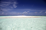 Maldives, Maafushi island, woman on sandbank in shallow water - DSGF01266