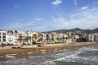 Spain, Catalonia, Sitges, coastal town and beach at Mediterranean Sea - ABOF00139