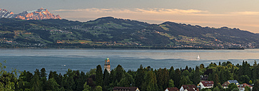 Germany, Lindau, Lake Constance, view from Hoyerberg on Hotel Bad Schachen and Saentis - SHF01919
