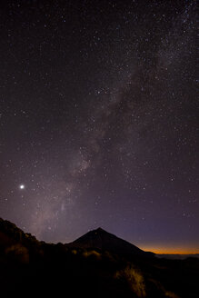 Spain, Tenerife, night shot with stars and milky way over Teide Volcano - SIPF01160