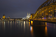 Germany, Cologne, view to Gross Sankt Martin, Cologne Cathedral and Hohenzollern Bridge by night - ODF01470