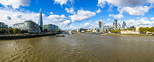 UK, London, panoramic view with City Hall and The Shard, River Thames and City of London - AMF05132