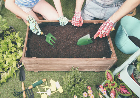 Couple preparing soil to plant vegetables in the container of their urban garden - RTBF00575