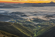 Italy, Marche, Apennines, aerial view of valleys with fog at sunrise - LOMF00453