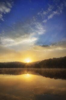 USA, North Carolina, Blue Ridge Mountains, Price Lake at twilight - SMAF00635