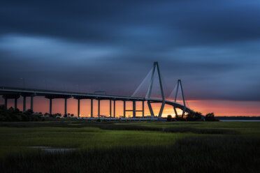 USA, South Carolina, Charleston, Arthur Ravenel Jr Bridge over Cooper River at twilight - SMAF00641