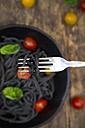 Spaghetti al Nero di Seppia on fork - LVF05727
