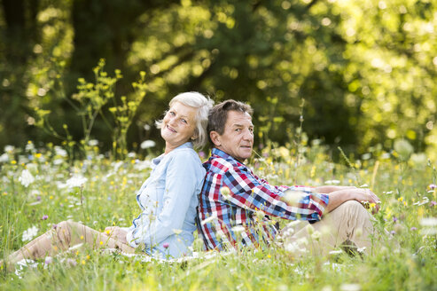 Senior couple sitting back to back on a meadow - HAPF01238