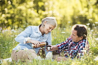 Senior couple having a picnic on a meadow - HAPF01244