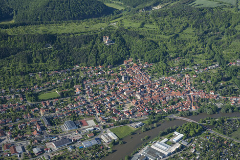 Germany, Treffurt, aerial view of the city with Normannstein Castle Ruin - HWOF00157