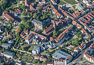 Germany, Heilbad Heiligenstadt, aerial view of the city with St Martin's Church and Mainzer Schloss - HWOF00160