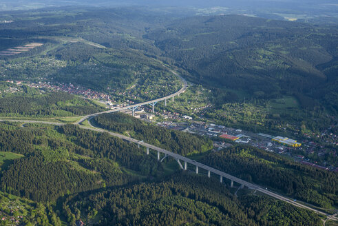 Germany, Suhl, aerial view of motorway through Thuringian Forest - HWOF00163