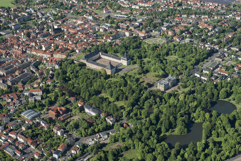 Germany, Gotha, aerial view of Friedenstein Castle and city - HWOF00175