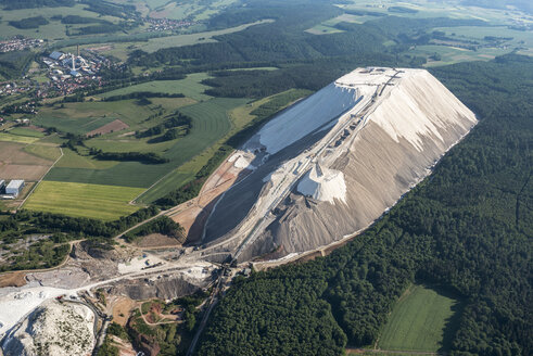 Germany, Unterbreizbach, aerial view of stockpile of potash mining - HWOF00187