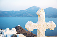Greece, Milos, Church cross over Plaka - GEMF01312
