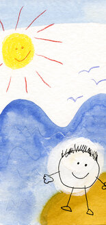 Children's drawing of happy children on the beach - CMF00628