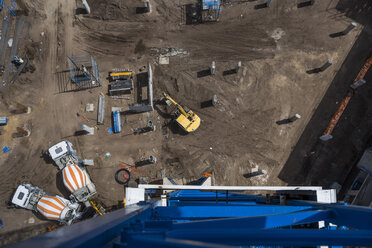 Concrete mixers on construction site, view from above - ZEF11969
