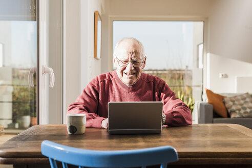 Senior man sitting at home, using laptop - UUF09543