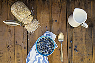 Bowl of overnight oats with blueberries on wood - LVF05754